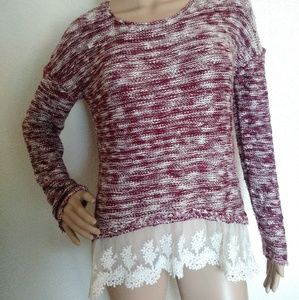 REWIND Maroon Ivory Sweater Lace Trim Pullover
